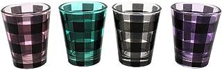 TMD Holdings Buffalo Plaid Stack Shot Glasses, Set of 4, 1.5 oz, Multicolored