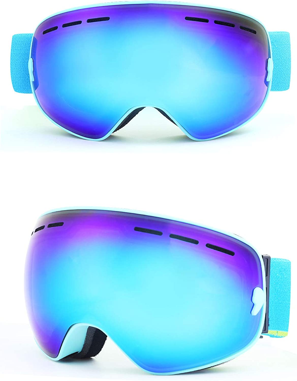 SLONG Ski Goggles Adult DoubleLayer AntiFog Men and Women Myopia Spherical Ski Glasses Ski Equipment,C