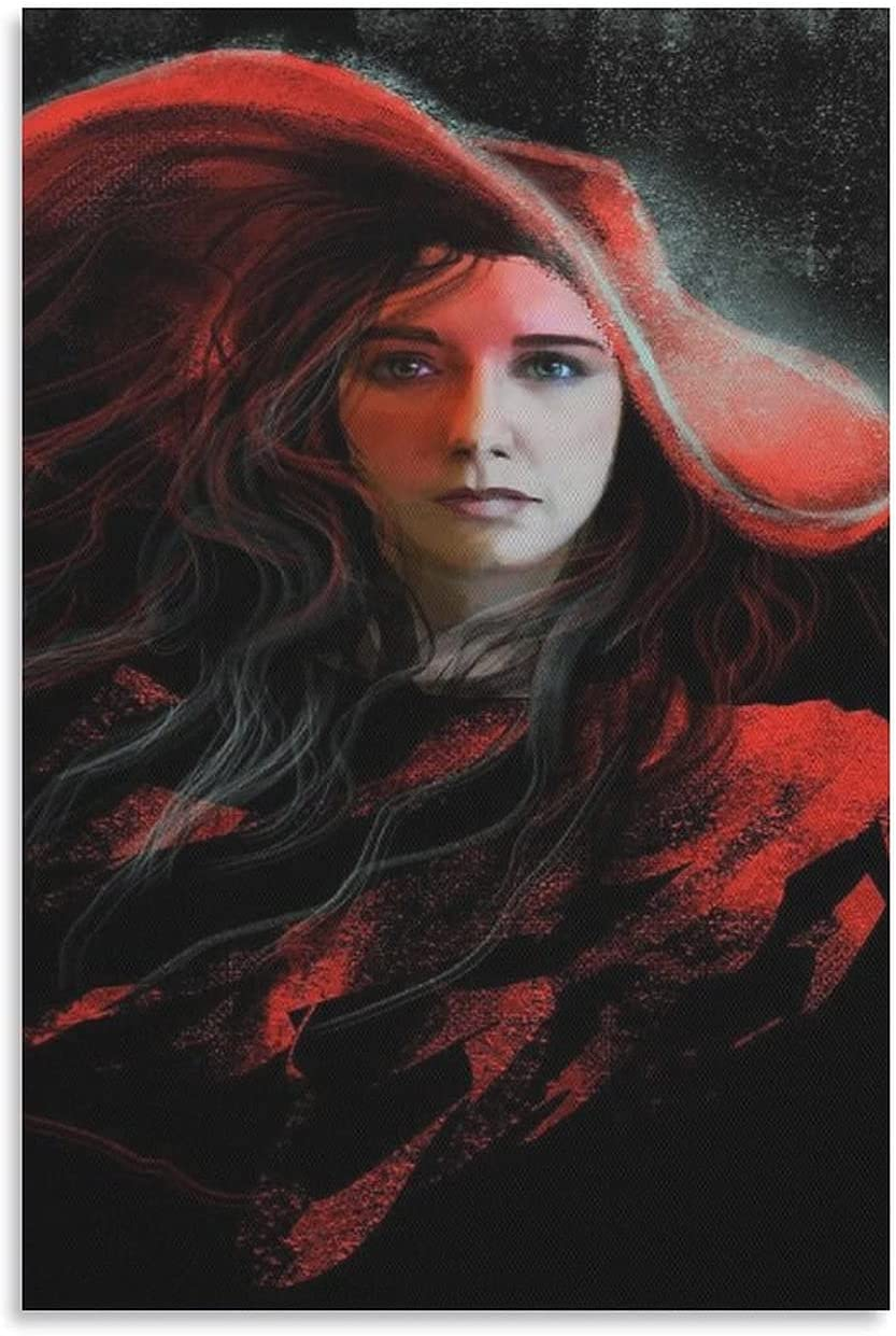 Art Poster of New mail order A Girl in Red HD on Hat Sale Print Canvas Wa Painting