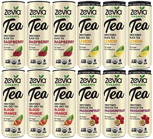 ZEVIA Variety Pack (12 Count) Organic Black Raspberry, Blood Orange Tea, Caffeine Free Lemon, Caffeine Free Hibiscus Tea Passionfruit. Zero Calories, No Artificial Sweeteners