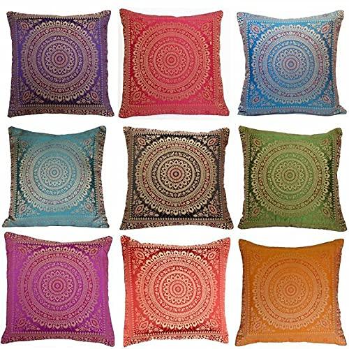 Brocado de seda decorativo hecho a mano indio Hogar y sala de estar Decoración Sofá de seda Mandala Funda de cojín (10 piezas)