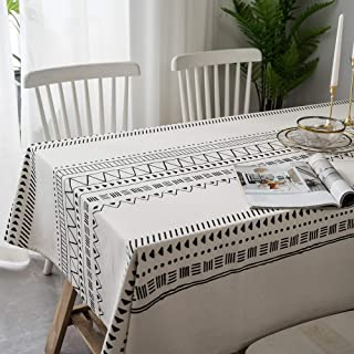 Lahome Boho Style Geometric Tablecloth - Cotton Linen Table Cover Kitchen Dining Room Restaurant Party Decoration (White, Rectangle - 55