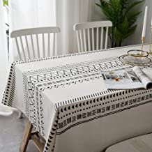 Lahome Boho Style Geometric Tablecloth - Cotton Linen Table Cover Kitchen Dining Room Restaurant Party Decoration (White, ...