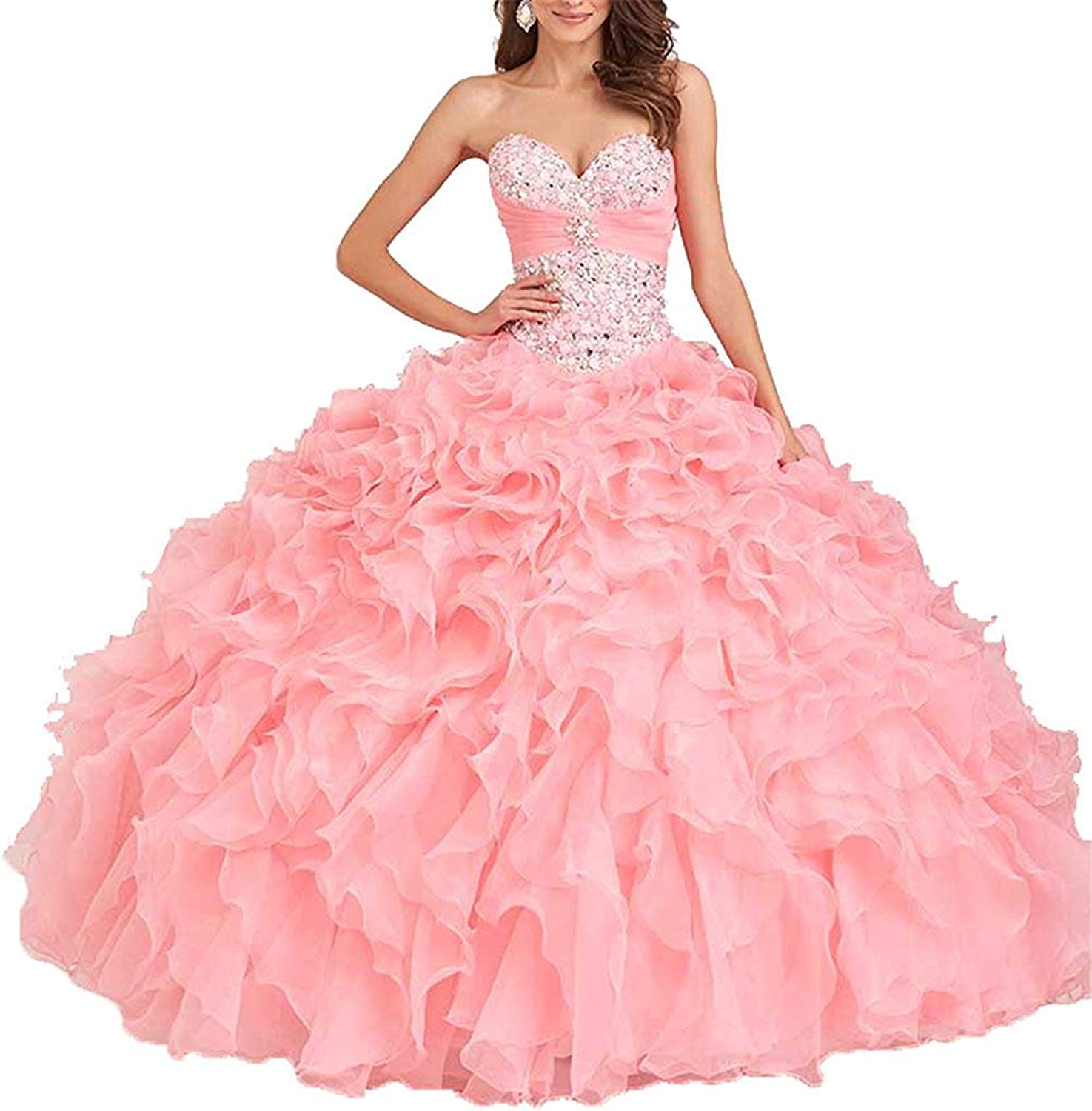 ANFF Teens Floor Length Strapless Beaded Quinceanera Dresses Women Party Ball Gowns