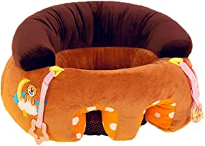 Baby Learn Sitting Chair Sofa Infant Support Saftety Seat Pillow Round Shaped Nursery Dining Chair Kids Soft Plush Cushion Toys Children Gift Body Supports  Color Brown  Size One size