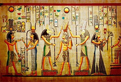 LFEEY 7x5ft Vinyl Gods of Egypt Backdrop for Photography Egyptian Decor Ancient Egyptian Mythology Sphinx Hieroglyphics Egypt Parchment Hieroglyphic Photo Background for Travel Vacation Studio Props