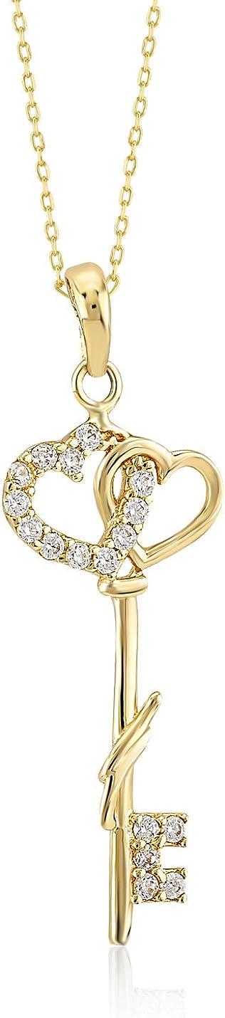 Gelin 14k Yellow Couple Heart Key CZ Pendant Chain Necklace for Women, 18 Inc