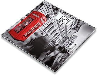 Beurer GS 203 - Báscula de baño de vidrio, pantalla LCD blanca, diseño London
