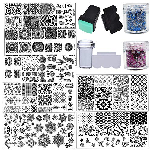 Flower Mandala Nail Stamping Kit 7pc Butterfly Owl Snow Geometric Nail Stamping Plate 20g Holographic Chunky Glitter Flakes with 2pc Nail Stamper Scraper
