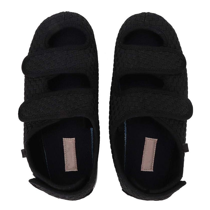 ナインへ耳織機平らな靴、整形外科の靴によって編まれる布のヴァンプの調節可能な閉鎖通気性の薄い網の歩く革紐の靴の人および女性のための履物(サイズ43)