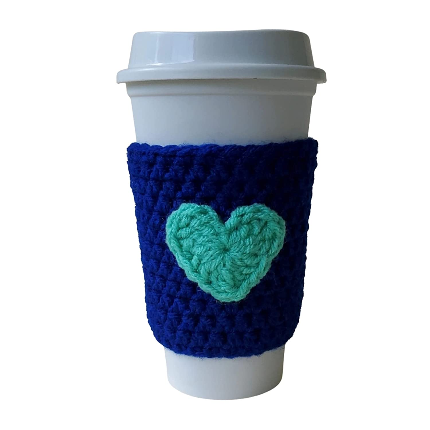 Reusable Coffee Cozy Sleeve Department store Royal Blue-Green Rapid rise Hea with Blue Wrap