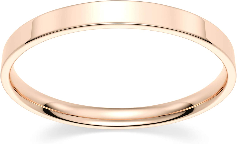 10k Rose Luxury goods Gold 2mm Deluxe Light Comfort Band Wedding Flat Fit