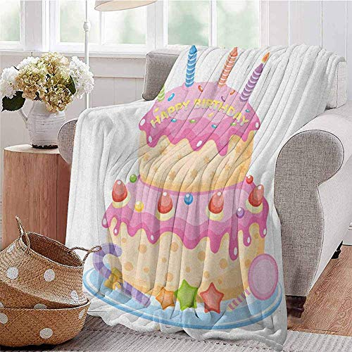 HUS-PLT Kids Birthday Comfortable Large Blanket Pastel Colored Birthday Party Cake with Candles and Candies Celebration Image Microfiber Blanket Bed Sofa Or Travel Pale Pink 40'X 50'