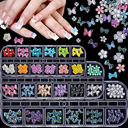 180 Pieces 3D Butterfly Nail Charms...