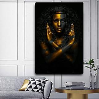XIANRENGE Impression HD Poster Imprimé sur Toile,Or Noir Femme Africaine Moderne Abstrait Art Mural Grand Peinture Photo J...