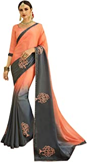 Indian Ethnic Gorgeous Colour Combination Shady Saree With Blouse Sari Hit Party Wear Collection 7370