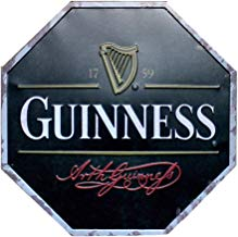 Westeng Publicidad Metálica de Pared de Octogonal Decoración Cartel de Chapa Decorativa Vintage Metal Cartel de la Pared Cerveza Decoración para Hogar Bar Size 32cm (Guinness)