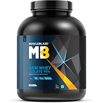 MuscleBlaze Raw Whey Isolate 90%   Protein 27g   BCAA 5.96g   Glutamic acid 4.7g Per Serving (Unflavored, 2 kg / 4.4 lb, 66 Servings)
