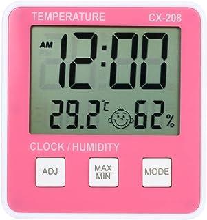 xdrfxrghjku Termómetro Digital Higrómetro Electrónico LCD Temperatura Medidor De Humedad Medidor Weather Estación Reloj In...