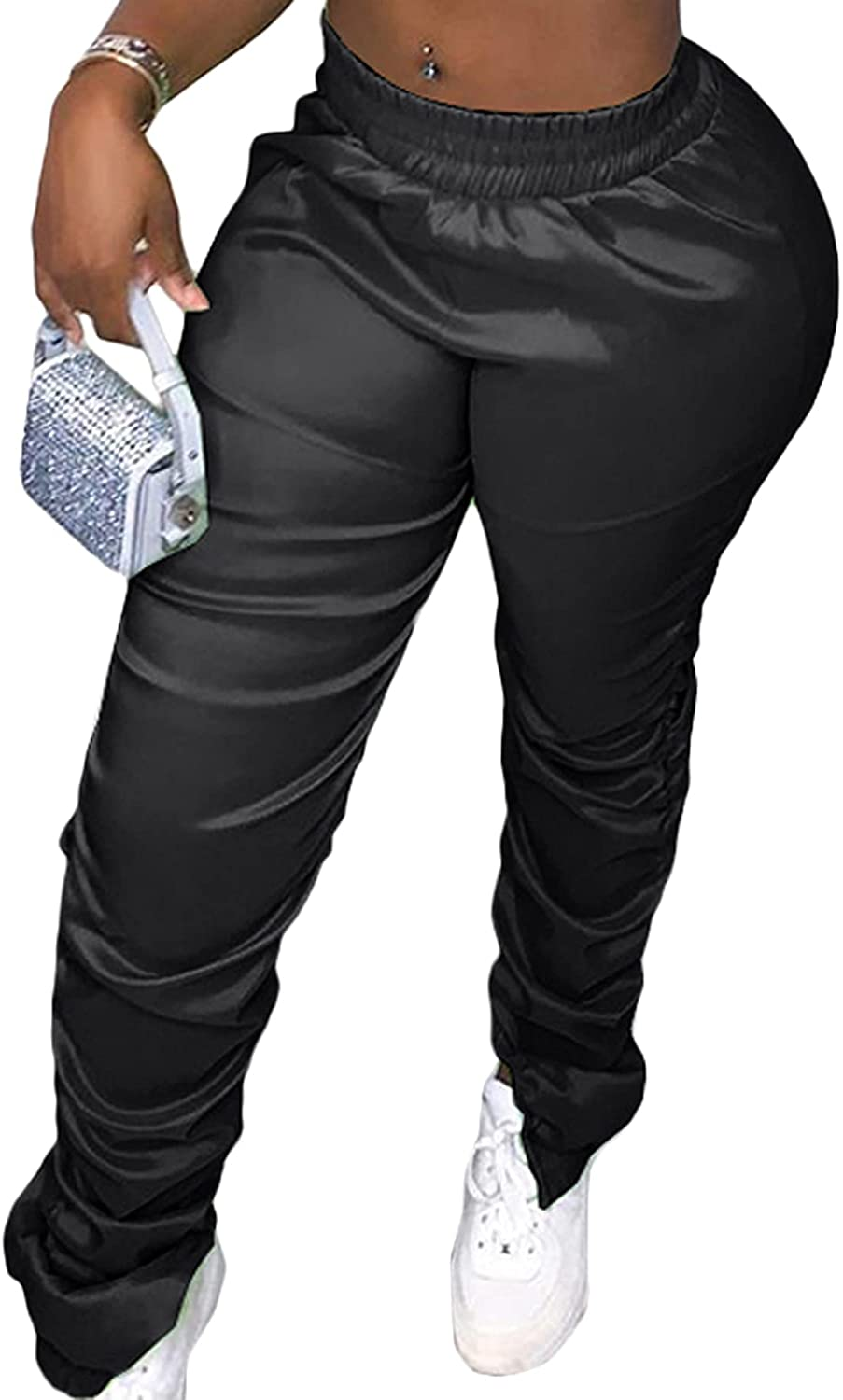 Vaceky Womens Stacked Pants Casual Elastic Waist Sweatpants Ruched Lounge Pants