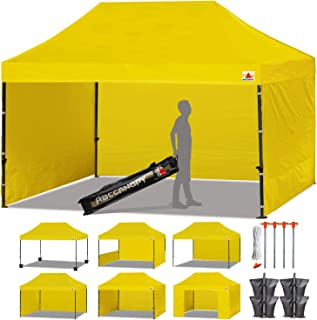 ABCCANOPY 23+ Colors Deluxe 10x15 Pop up Canopy Outdoor Party Tent Commercial Gazebo with Enclosure Walls and Wheeled Carry Bag Bonus 4 Weight Bags and 2 Half Walls (Yellow)