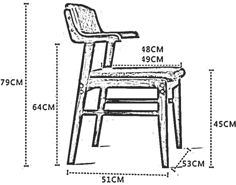 Chaise De Salle à Manger en Bois Massif Rembourré Confortable Siège en Tissu De Lin Chaise De Table avec Dossier D'accoudoir 51x53x79 Cm(Color:T6) T1