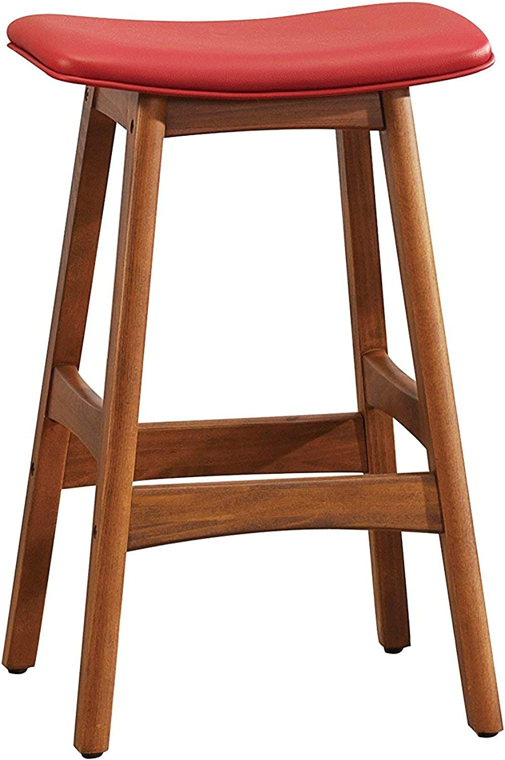 Benzara BM190164 Leather Upholstered Wooden Counter Height Stool, Red and Brown