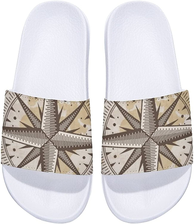 Vintage Nautical Compass Men's and Women's Comfort Slide Sandals Indoor Outdoor
