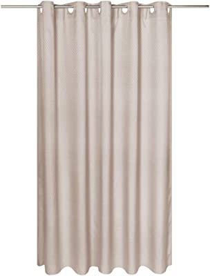 Carnation Home Fashions EZ-ON Grace Jacquard Polyester Stall Size Grey Shower Curtain, 54X78