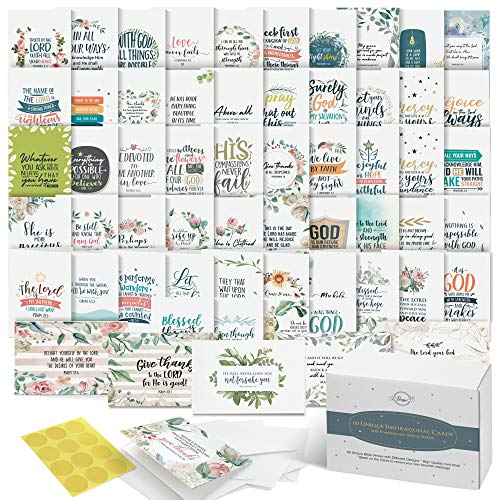 Dessie Bible Verse Cards - 60 Unique Scripture Cards With 60 Different Designs and Inspirational Bible Verses. Christian Greeting Cards Assortment. Large Blank Note Cards, Envelopes and Gold Seals.