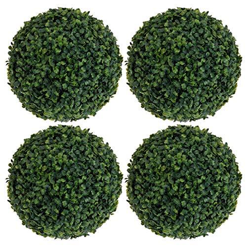 Huante Formschnittkugel aus Kunststoff, 35 cm, Blatt-Effekt, zum Aufhängen, Heim-/Gartendekoration, Buchsbaum-Pflanze, 4 Stück