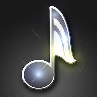 Light Up Music Note Flashing Blinking LED Body Light Lapel Pins (5-Pack)
