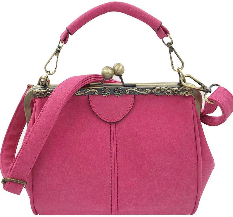 Bloomerang Donalworld Women Vintage Kiss Lock Handbag Imitation Pu Leather Shoulder Bags Purse Tote Fashion Messenger Bag Saddle Shell Bag color H 20 cm