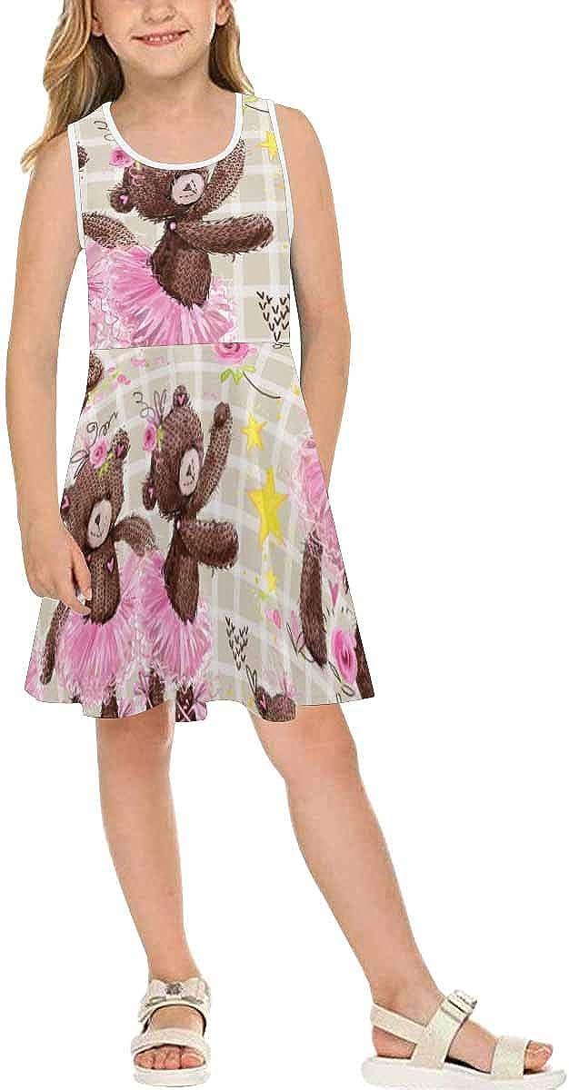 InterestPrint Girls Summer Sleeveless Dress Casual Party Dress Watercolor Crabs (2T-XL)