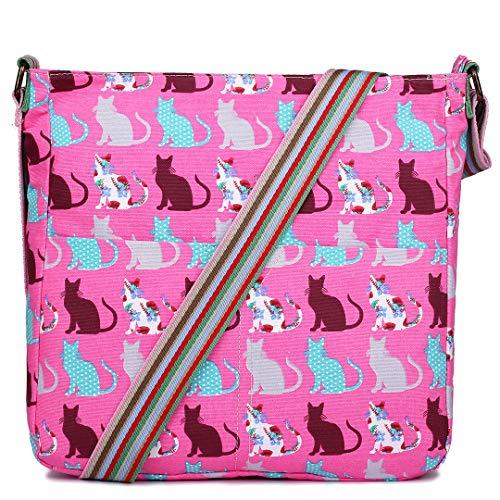 Miss Lulu Women Cross Body Bag Cat Canvas Messenger Bags Teenagers Satchel Schoolbag for Girls (Pink)