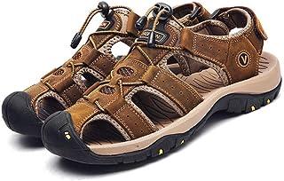 Heren zomer nieuwe lederen plus size sandalen outdoor casual sportschoenen,Brown-48