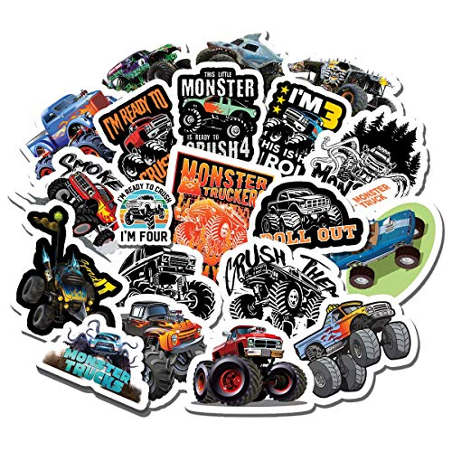 20 PCS Stickers Pack Monster Truck Jam Aesthetic Vinyl Colorful Waterproof for Water Bottle Laptop Scrapbooking Luggage Guitar Skateboard