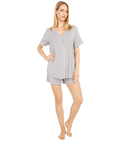 Barefoot Dreams Luxe Milk Jersey PJ Top and Boxer Set (Pewter) Women