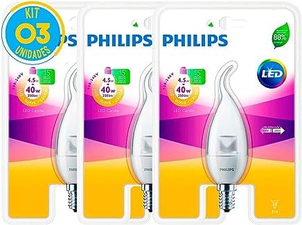 Lâmpada Led Vela E14 4.5W 2700K Ledcandle Philips - Kit com 03