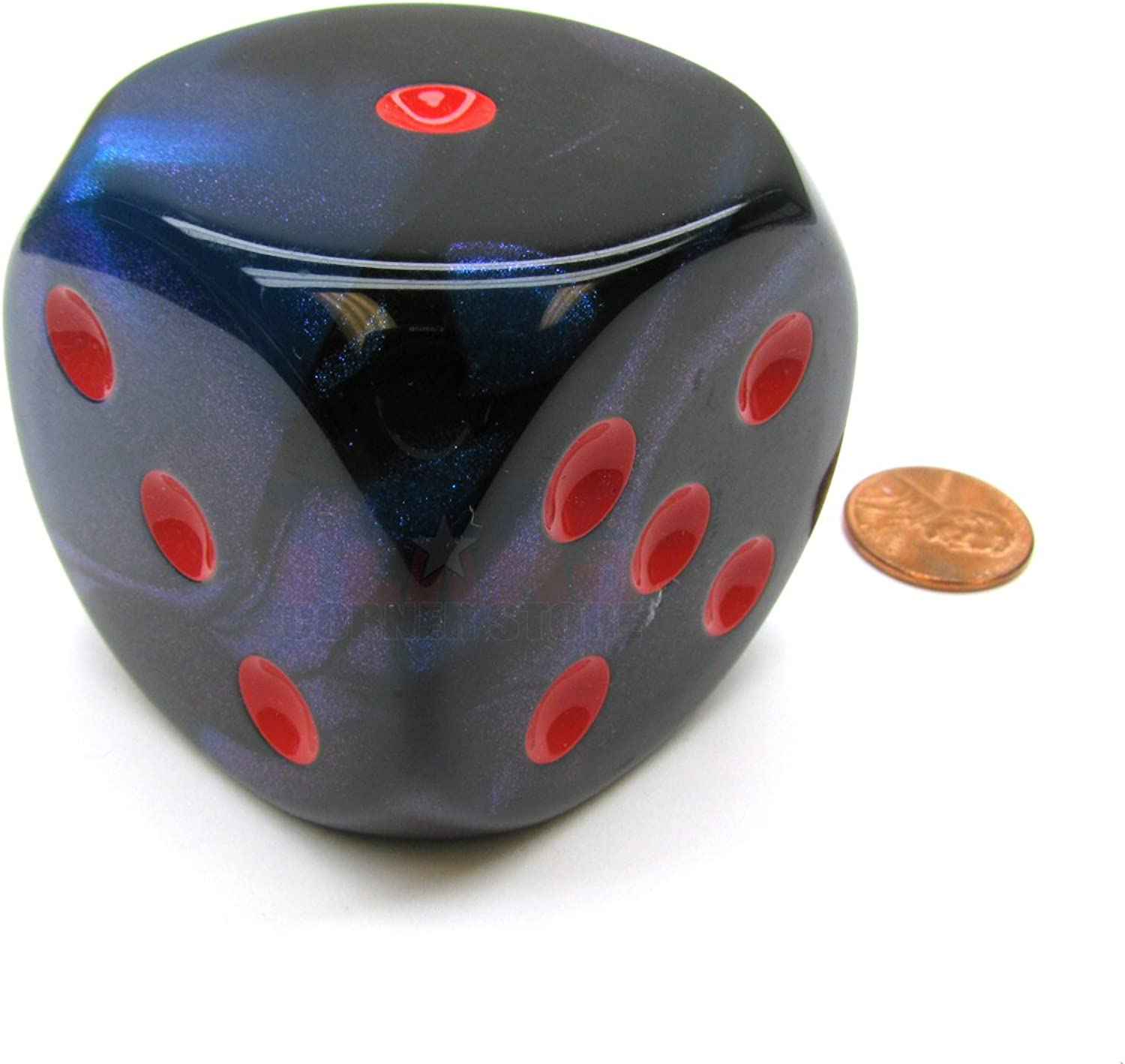 Gemini 50mm Huge Large D6 Chessex Dice, 1 Piece  BlackStarlight with Red Pips by Chessex