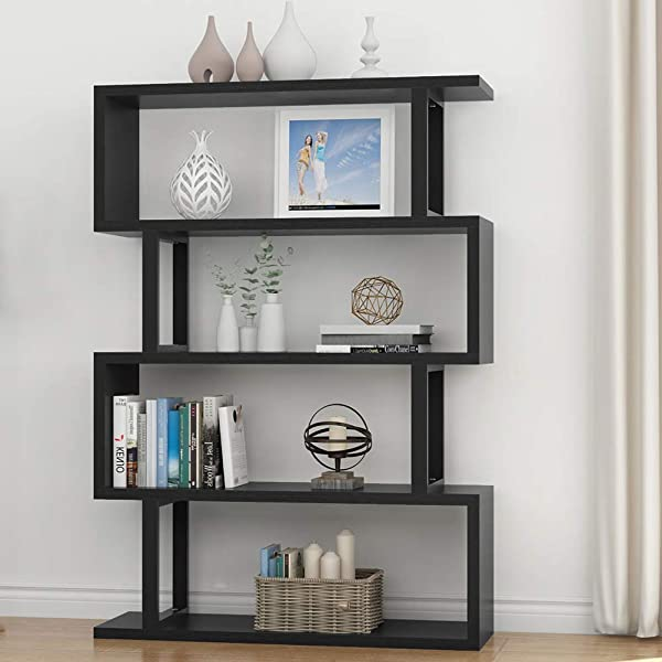 Tribesigns 4 Shelf Bookshelf Modern Bookcase Display Shelf Storage Organizer For Living Room Home Office Bedroom Black