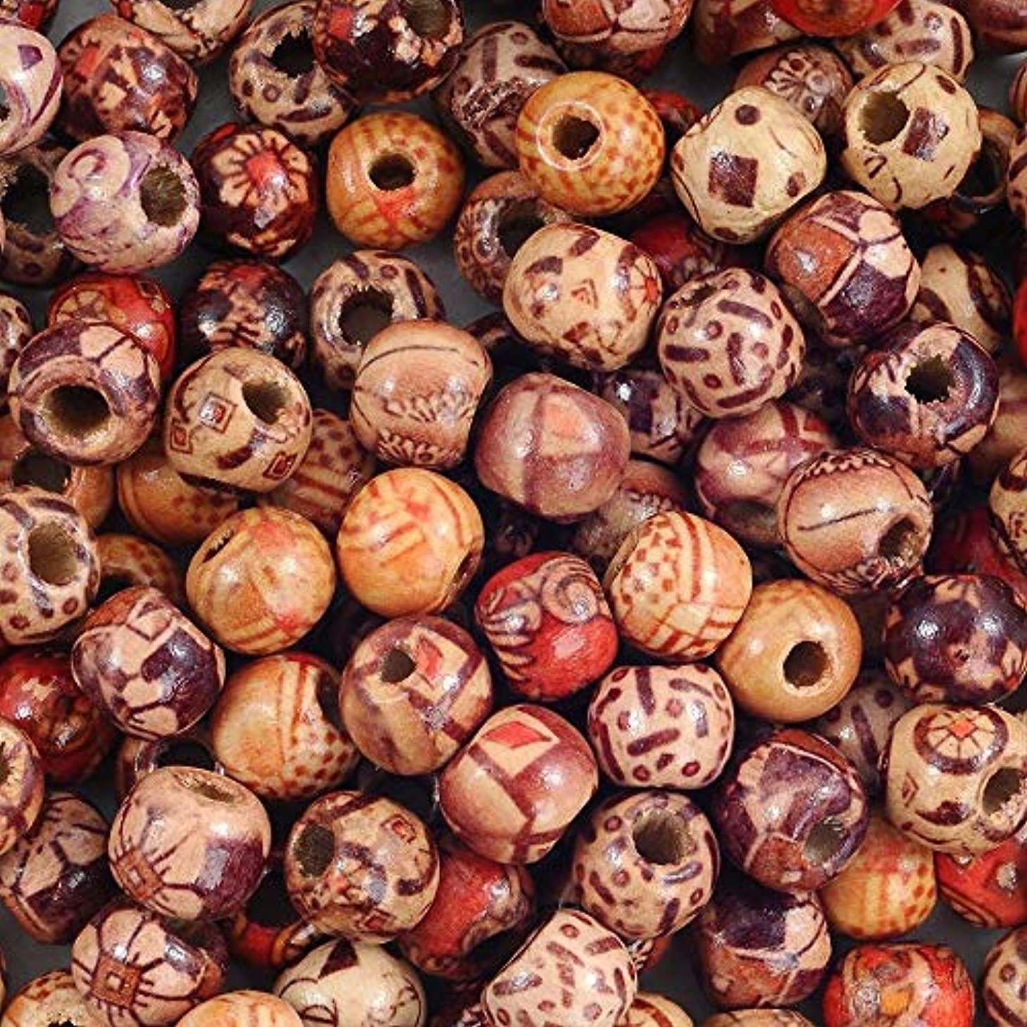 300 Pieces 12mm Assorted Painted Barrel Wooden Beads, Beading DIY Loose Wooden Beads