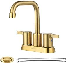 Torneira de banheiro de ouro escovado com 2 alças PARLOS para lavatório com dreno de pia pop-up e linhas de fornecimento d...