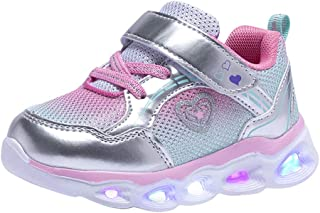 COODO Toddler Kid Girls Sneakers Flashing Glitter Shoes