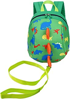 Samloong Toddler Backpack with Leash Harness, Adorable Dinosaur Bag Green