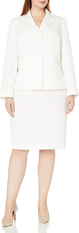 Le Suit Women's Plus Size 3 Button Vanilla Ice Skirt Suit