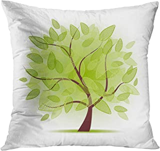 Qryipd Throw Pillow Cover Art Tree Beautiful Your Oak Grass Leaf Abstract Autumn Bark Beauty Comfortable Print Living Room Car Sofa Bedroom Polyester Pillowcase Home Decor Cushion Case 18x18 Inch
