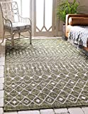 Unique Loom Trellis Collection Tribal Geometric Transitional Indoor and Outdoor Flatweave Area Rug, 9' x 12', Green/Ivory