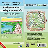 Rheinwandern 1 - Loreley - Simmern/H. 1:25 000: Wanderkarte mit Radwegen, Blatt 40-555, 1 : 25 000, Bacharach, Kaub, Lorch, Oberwesel, Rheinboellen, Sankt Goar