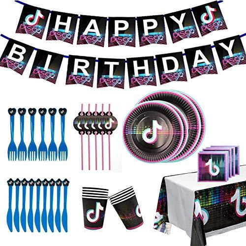 YUIP Tik Tok Geburtstag Partygeschirr Set, einschließen Papptellers Servietten Becher Tischdecke für Kinder Birthday Party Zubehör (82PCS)